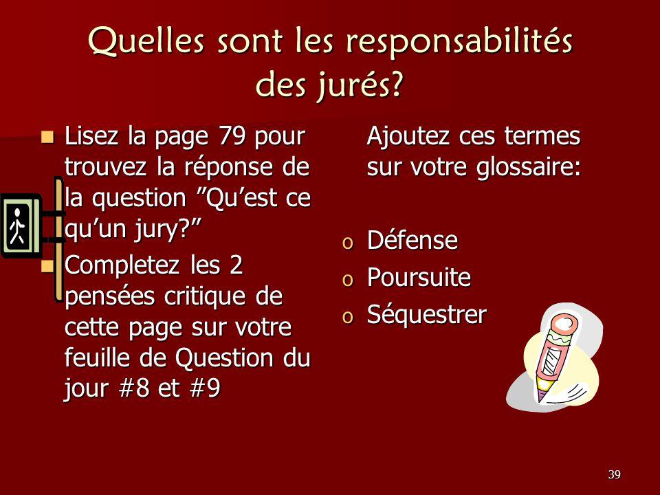 Quelles sont les responsabilités des jurés