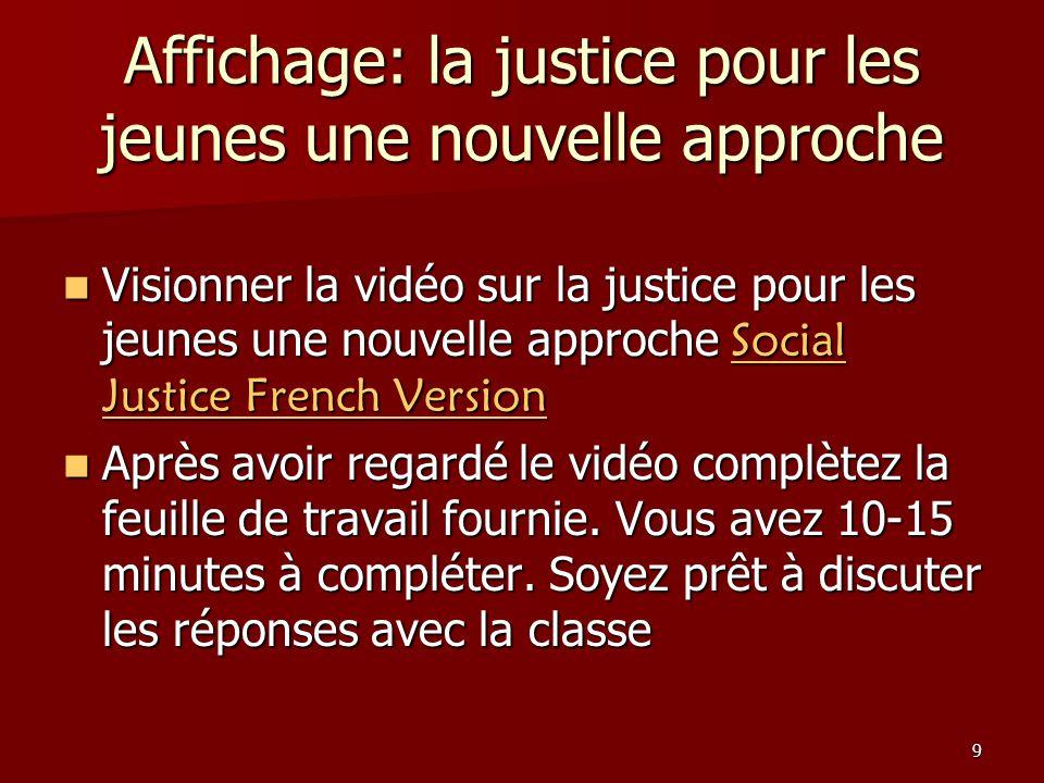 Affichage: la justice pour les jeunes une nouvelle approche
