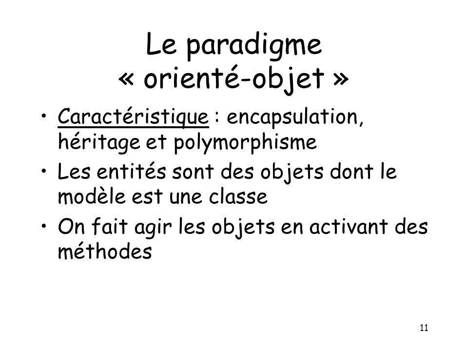 Le paradigme « orienté-objet »