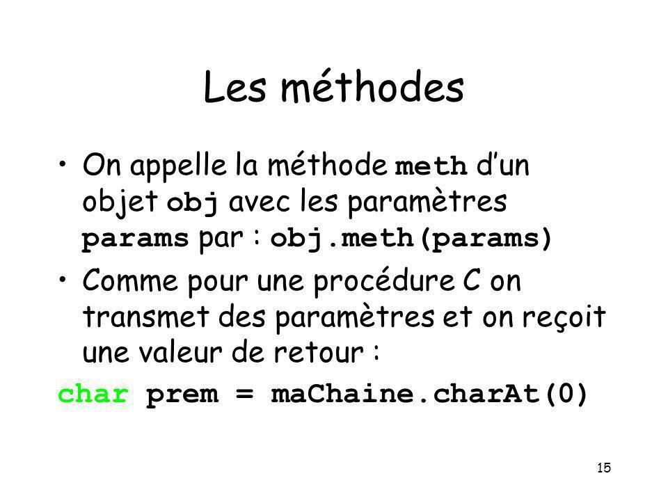 Les méthodes On appelle la méthode meth d'un objet obj avec les paramètres params par : obj.meth(params)