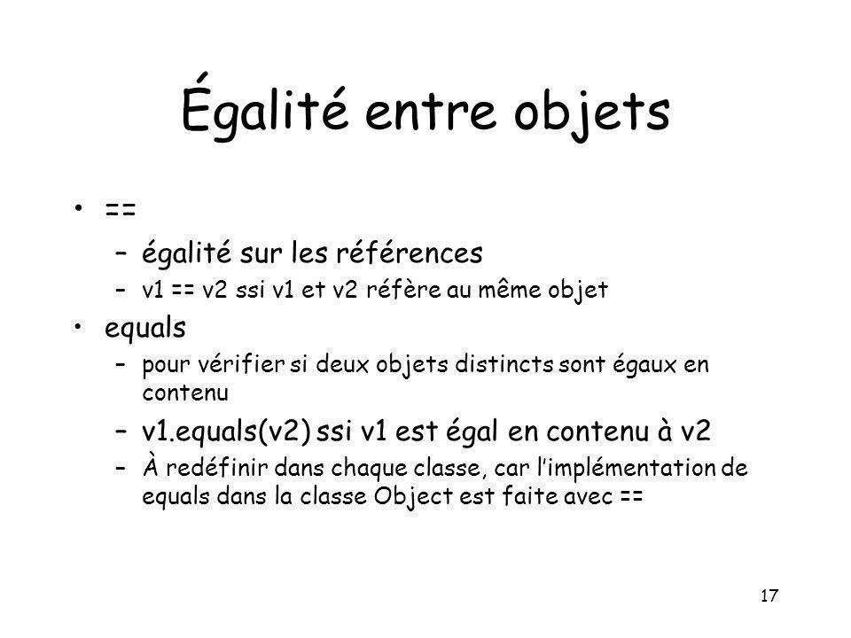 Égalité entre objets == égalité sur les références equals