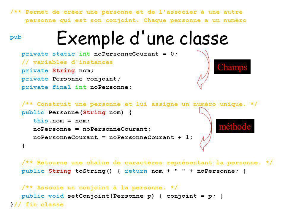 Exemple d une classe Champs méthode