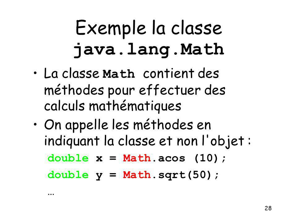 Exemple la classe java.lang.Math