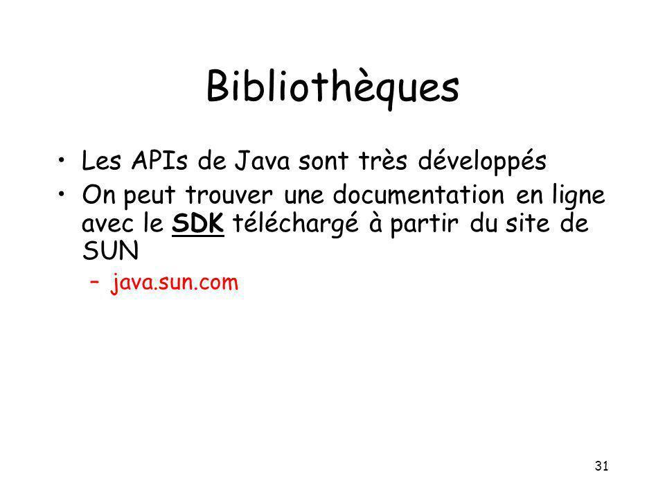 Bibliothèques Les APIs de Java sont très développés