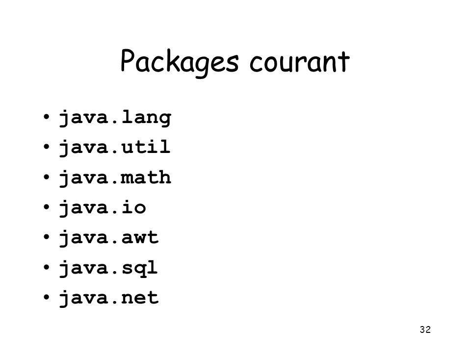 Packages courant java.lang java.util java.math java.io java.awt