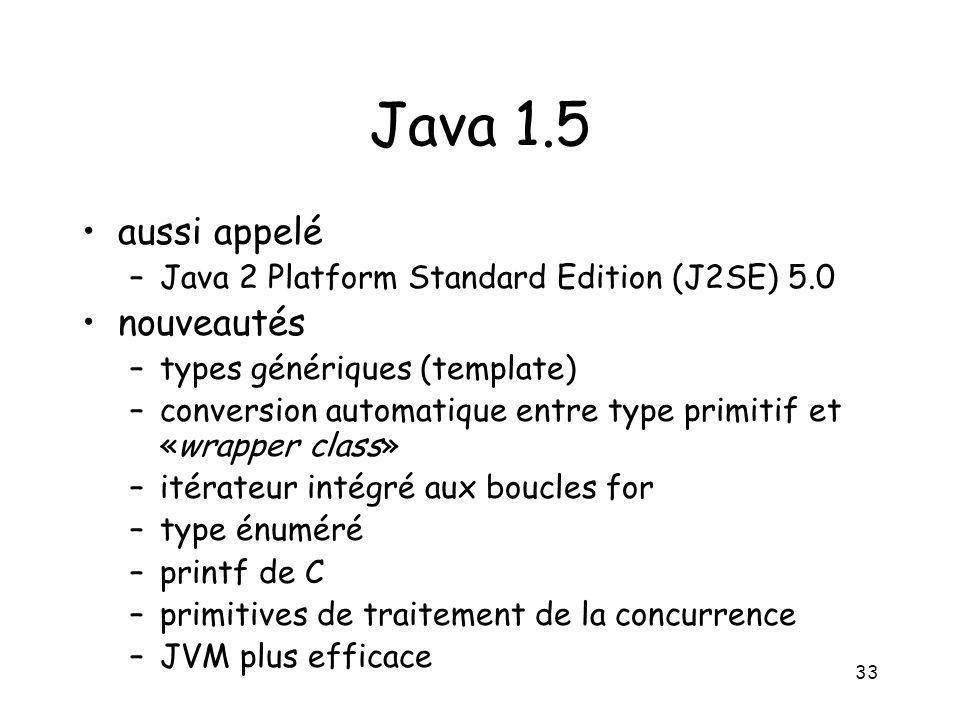 Java 1.5 aussi appelé nouveautés