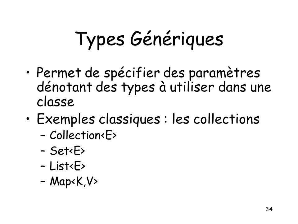 Types Génériques Permet de spécifier des paramètres dénotant des types à utiliser dans une classe. Exemples classiques : les collections.