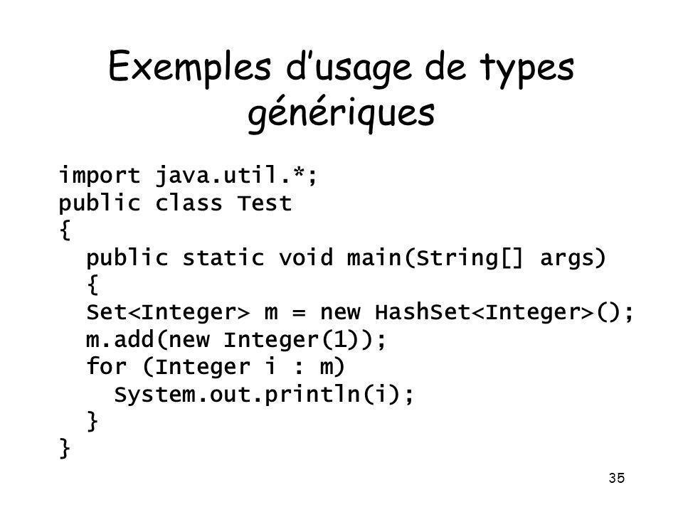 Exemples d'usage de types génériques