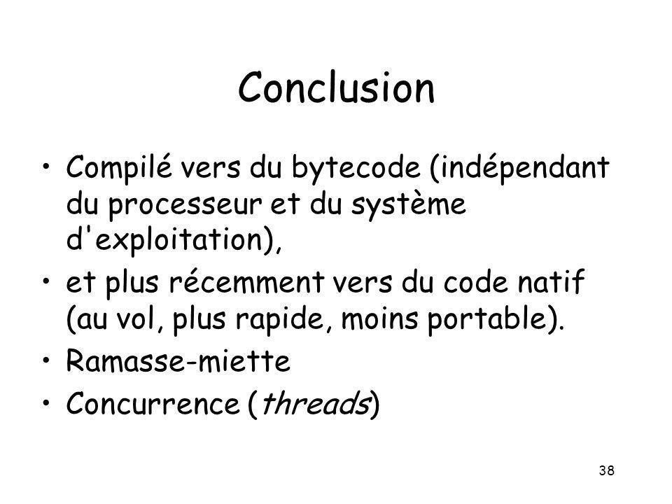 Conclusion Compilé vers du bytecode (indépendant du processeur et du système d exploitation),