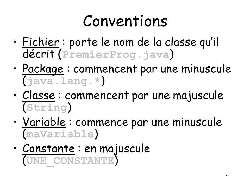 Conventions Fichier : porte le nom de la classe qu'il décrit (PremierProg.java) Package : commencent par une minuscule (java.lang.*)