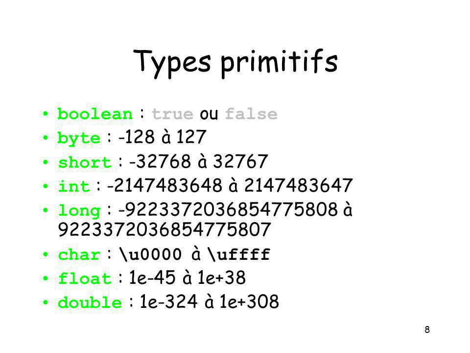 Types primitifs boolean : true ou false byte : -128 à 127
