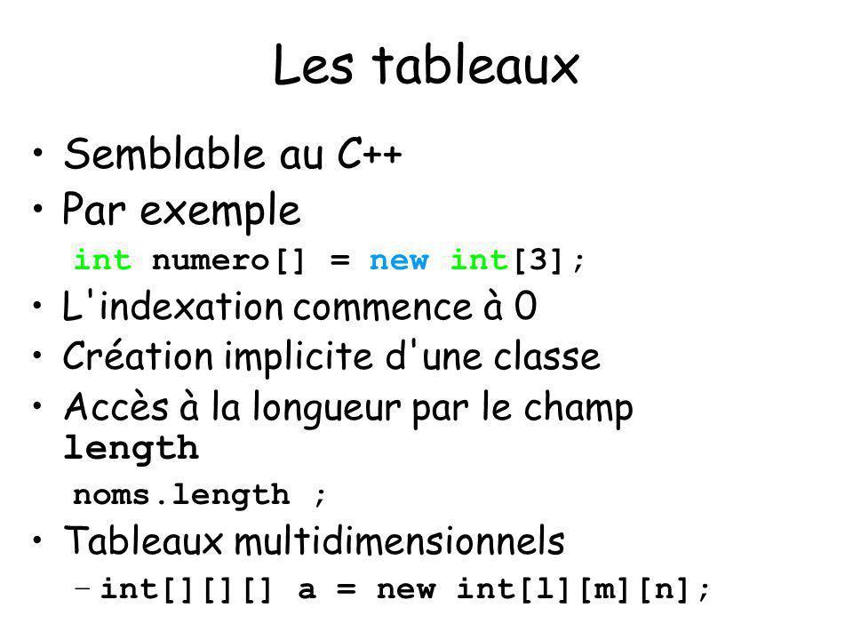 Les tableaux Semblable au C++ Par exemple L indexation commence à 0