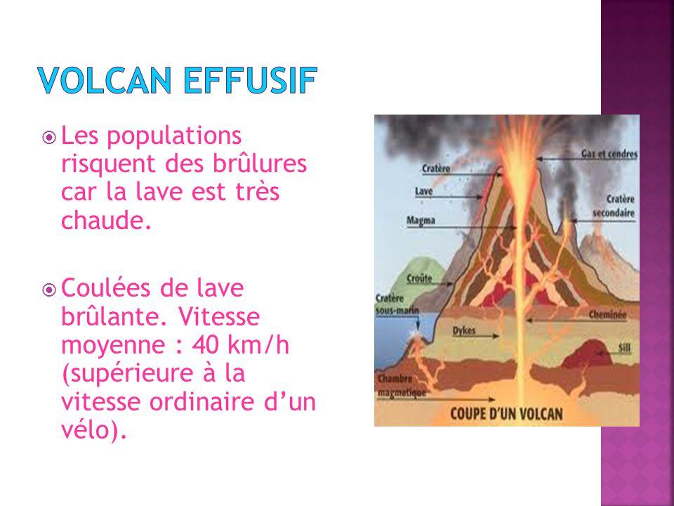 Volcan effusif Les populations risquent des brûlures car la lave est très chaude.