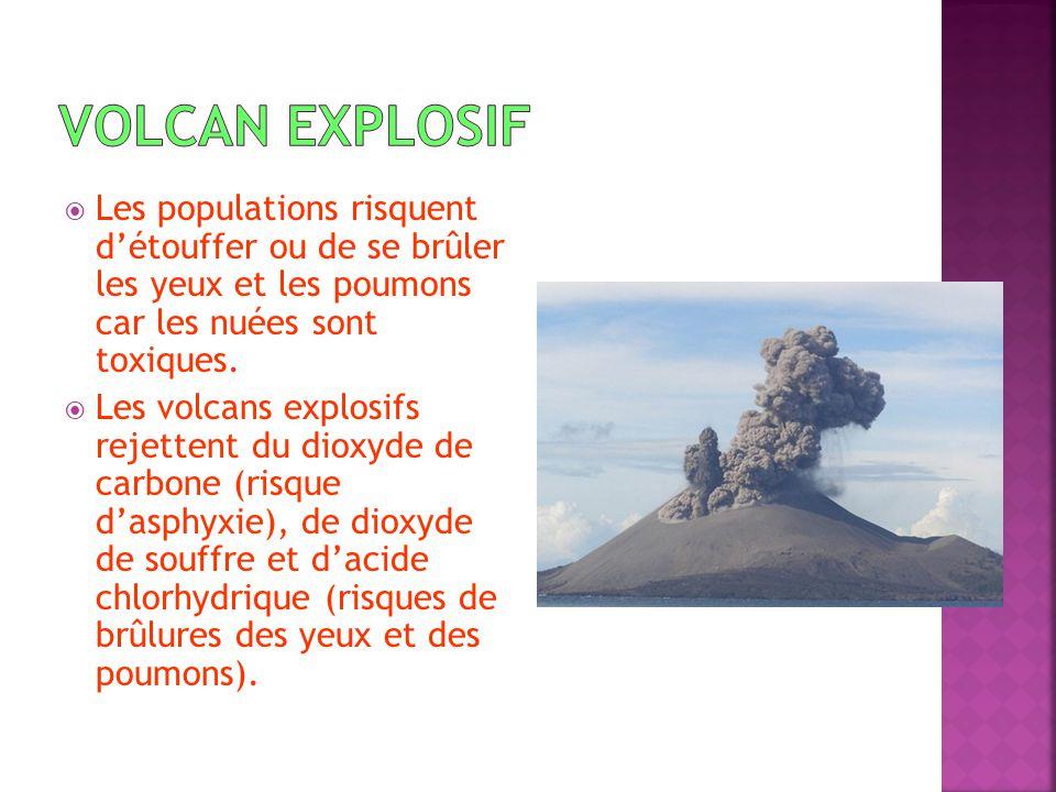 Volcan explosif Les populations risquent d'étouffer ou de se brûler les yeux et les poumons car les nuées sont toxiques.