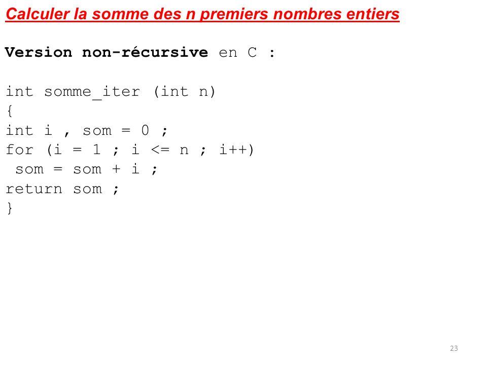Calculer la somme des n premiers nombres entiers