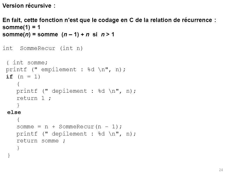 Version récursive : En fait, cette fonction n est que le codage en C de la relation de récurrence :