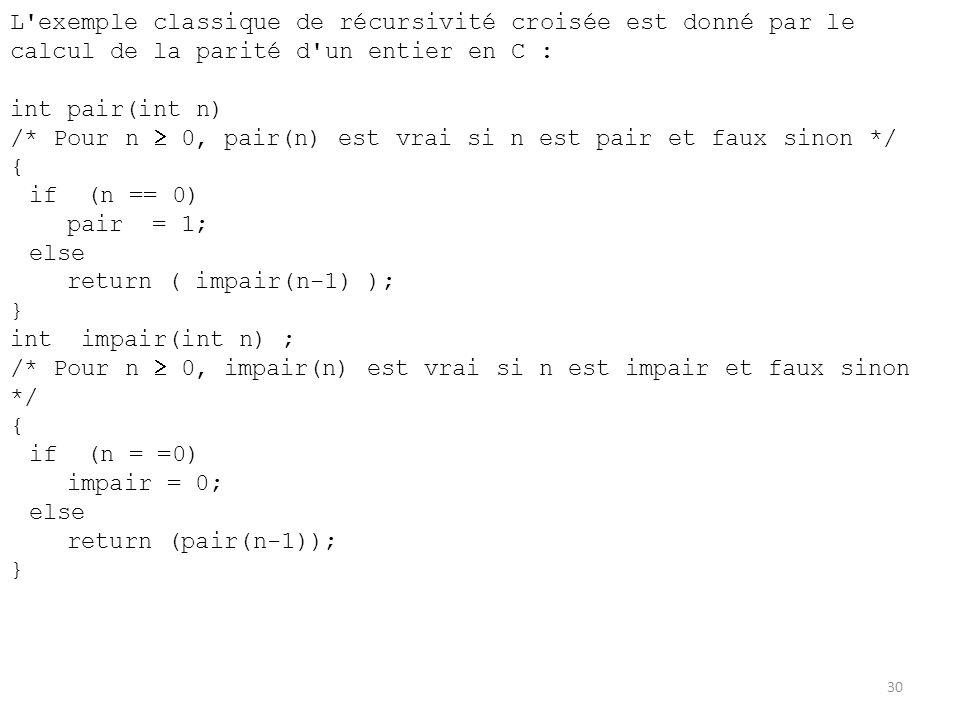 L exemple classique de récursivité croisée est donné par le calcul de la parité d un entier en C :