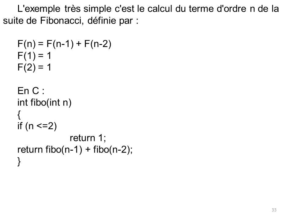 L exemple très simple c est le calcul du terme d ordre n de la suite de Fibonacci, définie par :
