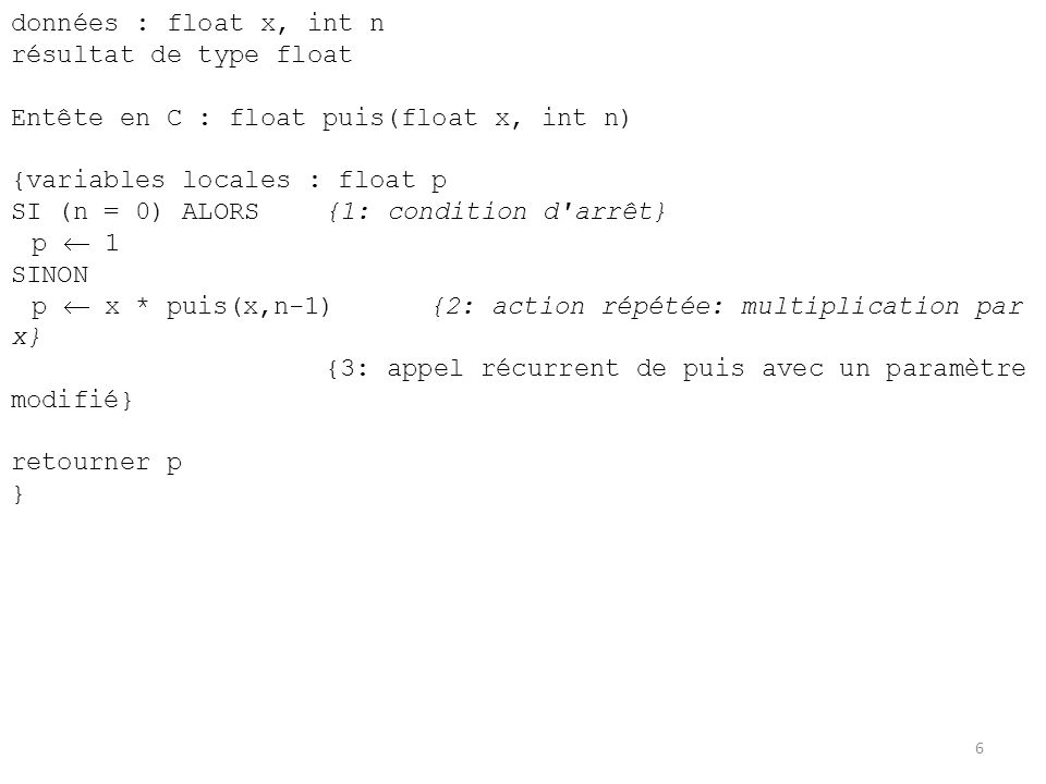 données : float x, int n résultat de type float. Entête en C : float puis(float x, int n) {variables locales : float p.