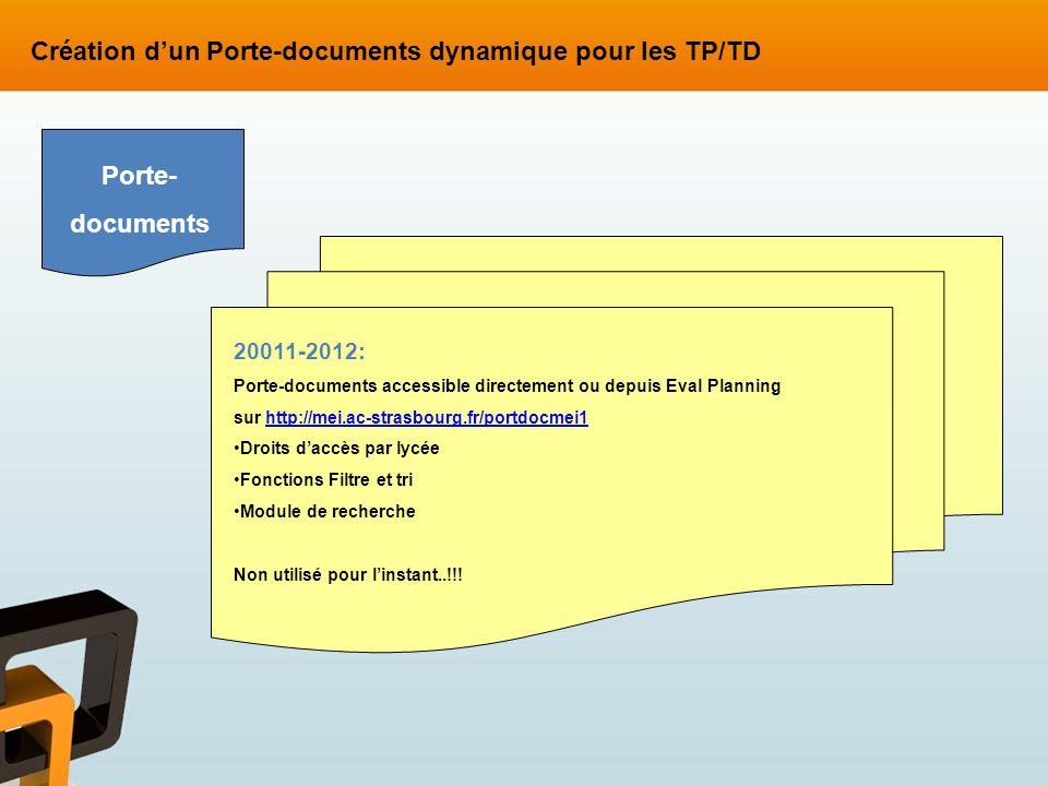 Création d'un Porte-documents dynamique pour les TP/TD