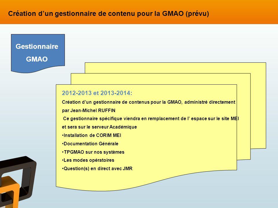 Création d'un gestionnaire de contenu pour la GMAO (prévu)