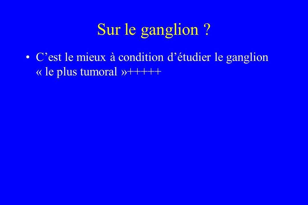 Sur le ganglion C'est le mieux à condition d'étudier le ganglion « le plus tumoral »+++++