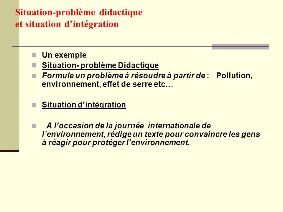 Situation-problème didactique et situation d'intégration