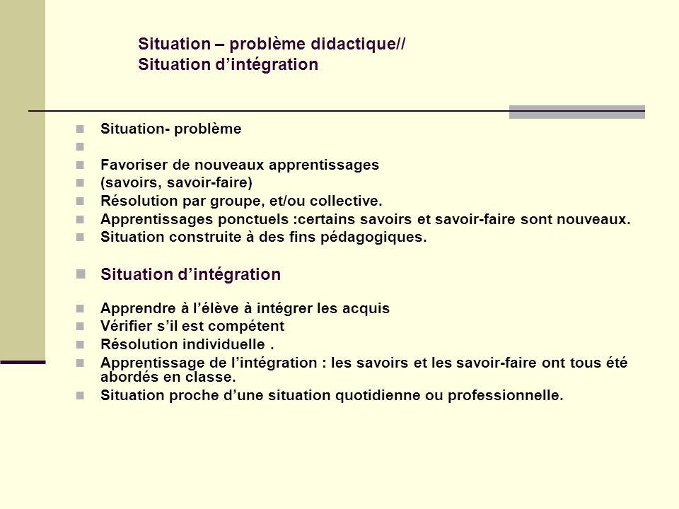 Situation – problème didactique// Situation d'intégration