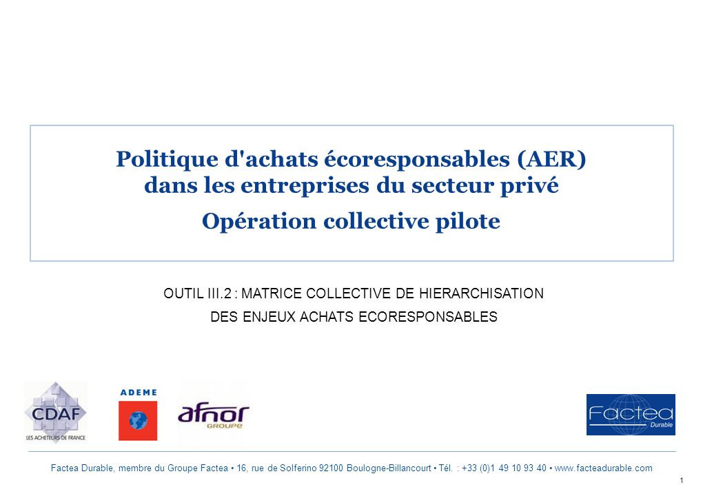 Opération collective pilote