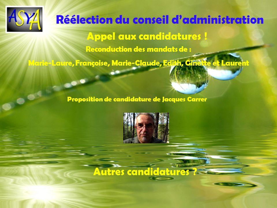 Réélection du conseil d'administration
