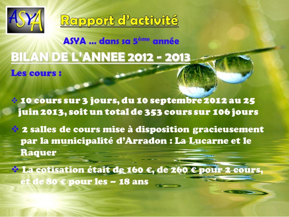 Rapport d'activité BILAN DE L'ANNEE 2012 - 2013