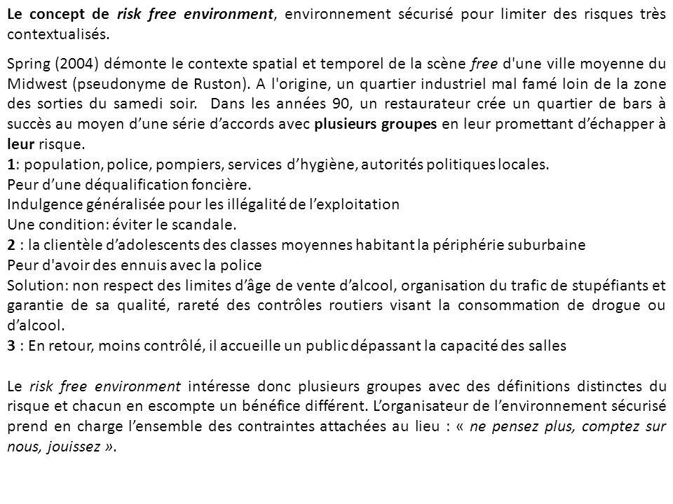 Le concept de risk free environment, environnement sécurisé pour limiter des risques très contextualisés.