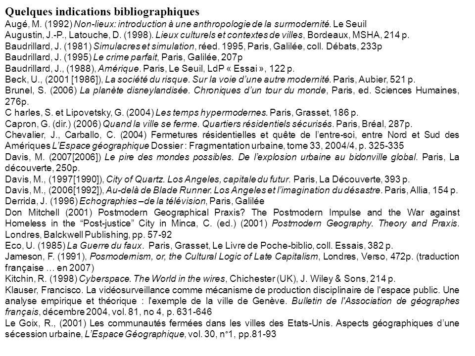 Quelques indications bibliographiques