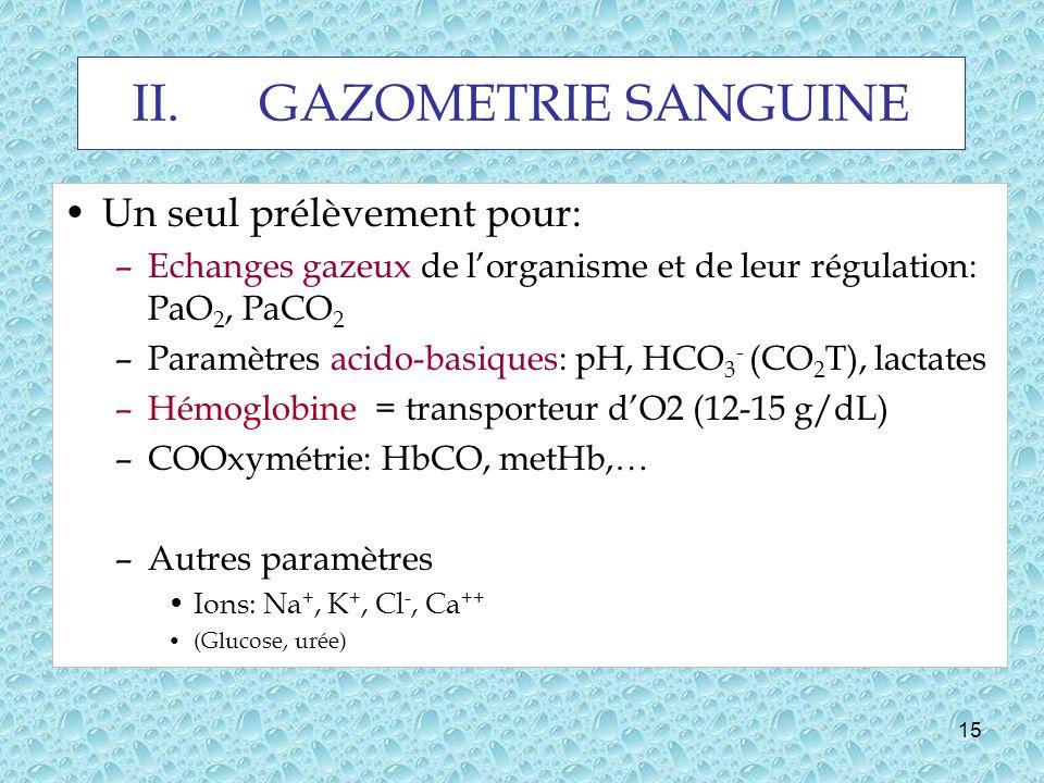 GAZOMETRIE SANGUINE Un seul prélèvement pour: