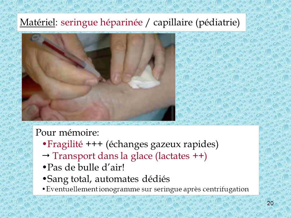 Matériel: seringue héparinée / capillaire (pédiatrie)
