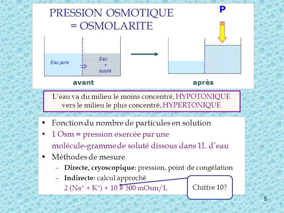 PRESSION OSMOTIQUE = OSMOLARITE