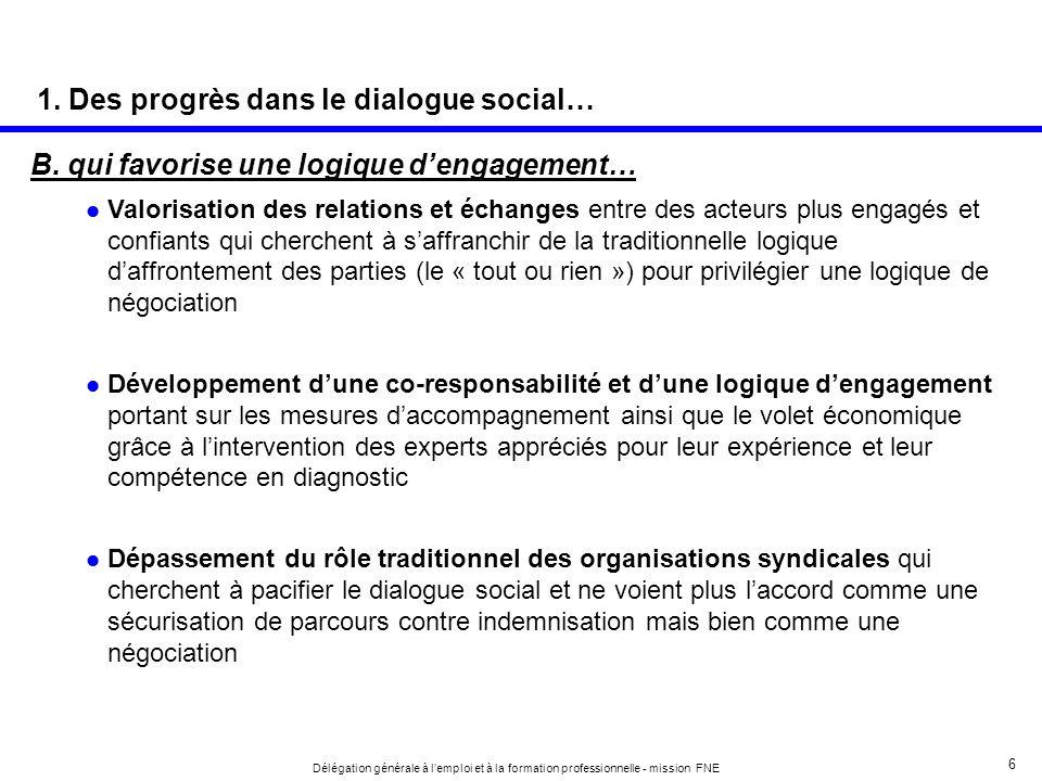 1. Des progrès dans le dialogue social…
