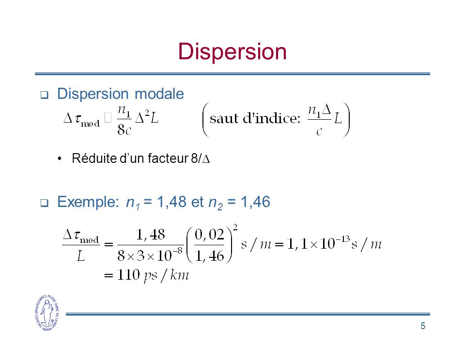 Dispersion Dispersion modale Exemple: n1 = 1,48 et n2 = 1,46
