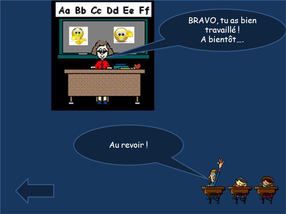 BRAVO, tu as bien travaillé !