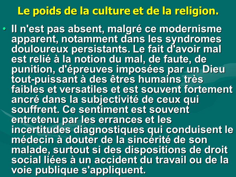 Le poids de la culture et de la religion.