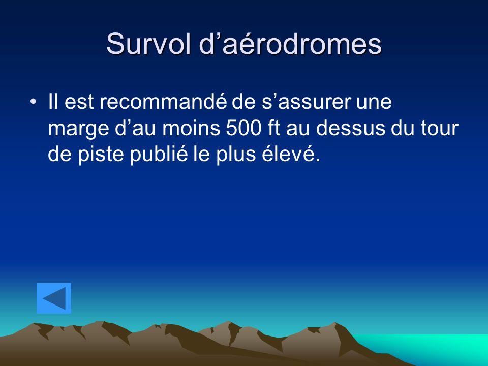 Survol d'aérodromes Il est recommandé de s'assurer une marge d'au moins 500 ft au dessus du tour de piste publié le plus élevé.