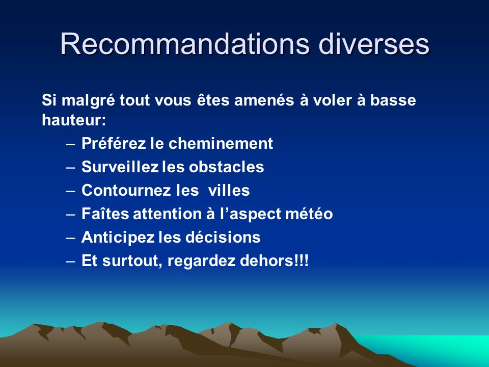 Recommandations diverses