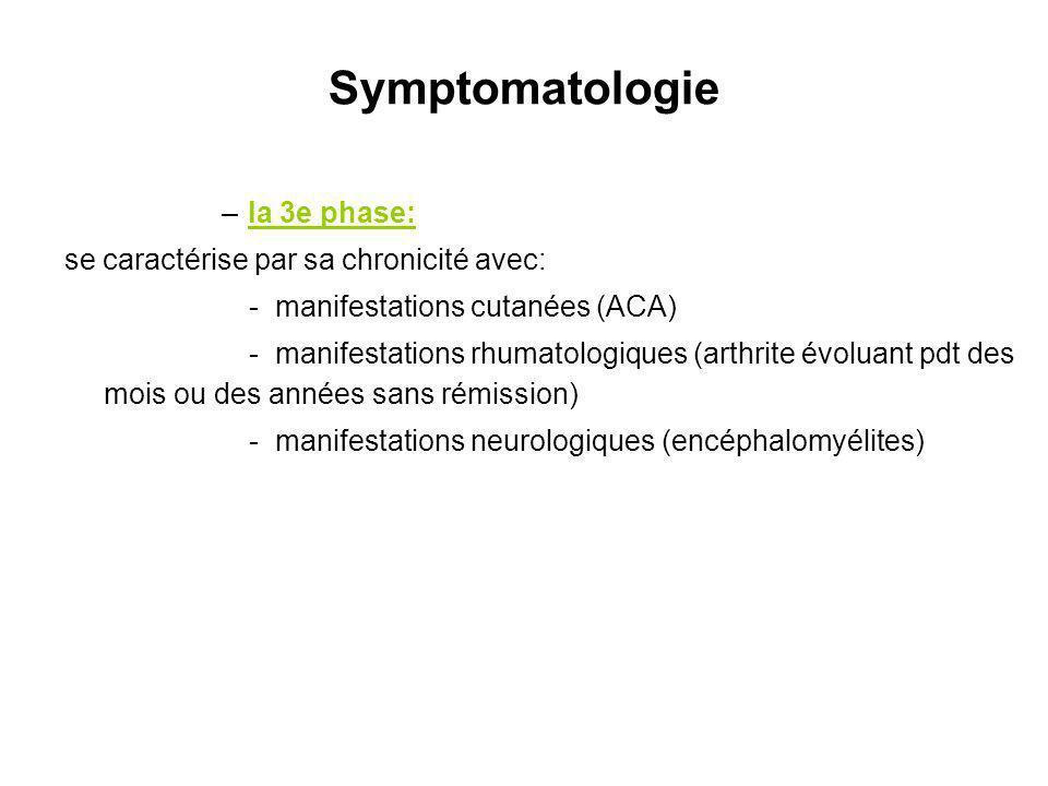 Symptomatologie la 3e phase: se caractérise par sa chronicité avec: