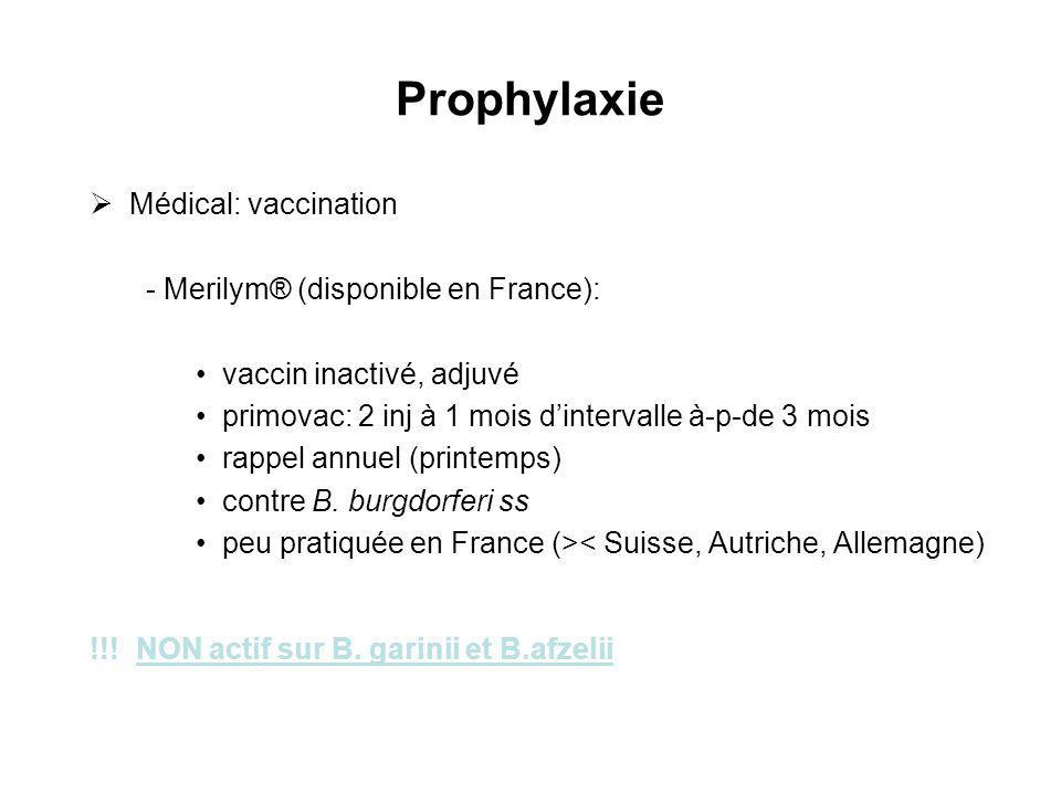 Prophylaxie Médical: vaccination - Merilym® (disponible en France):