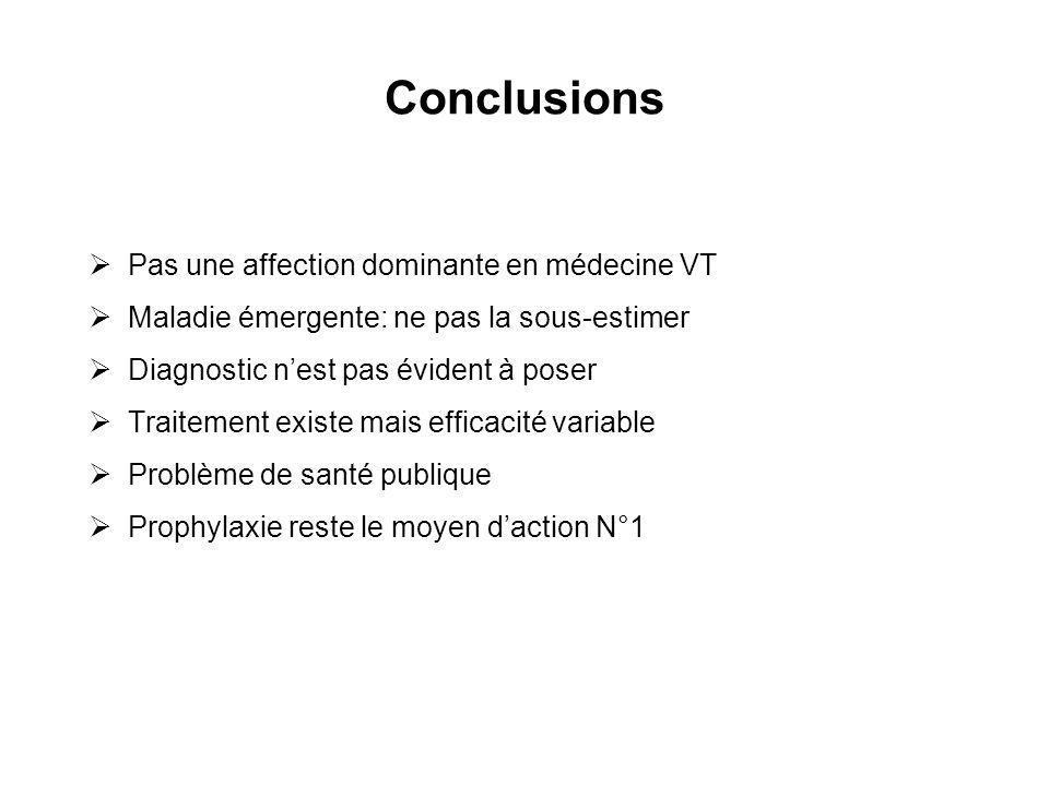 Conclusions Pas une affection dominante en médecine VT