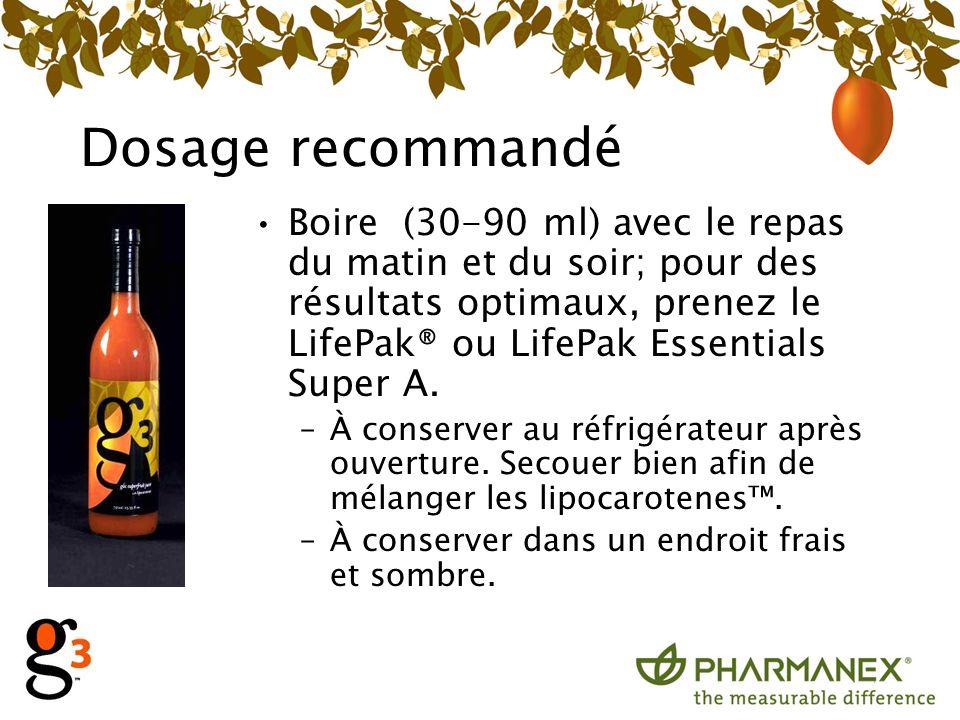 Dosage recommandé Boire (30-90 ml) avec le repas du matin et du soir; pour des résultats optimaux, prenez le LifePak® ou LifePak Essentials Super A.