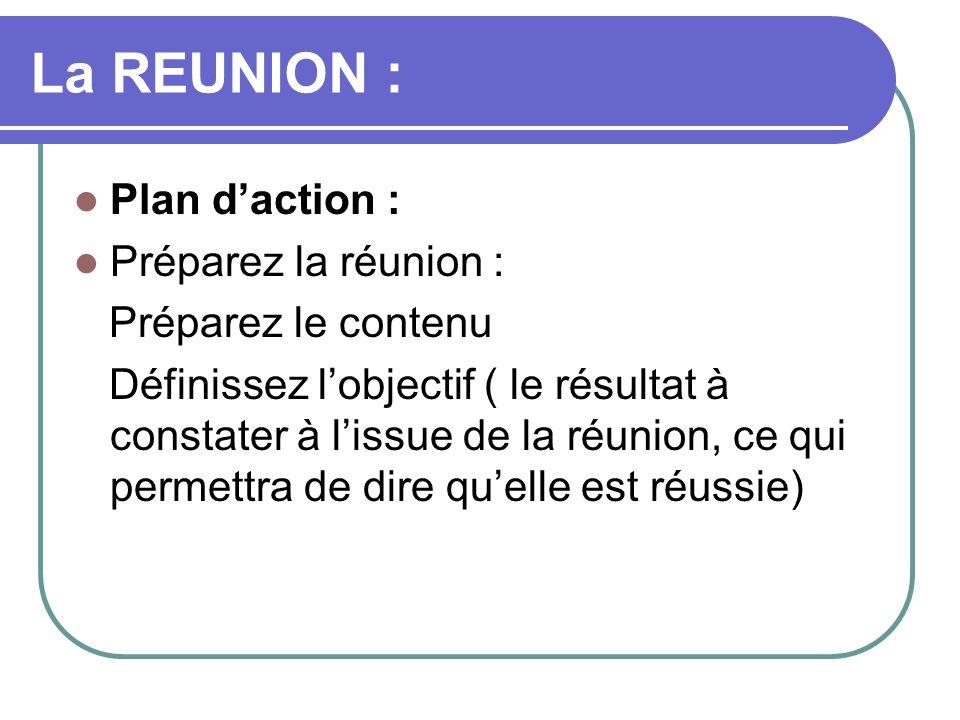 La REUNION : Plan d'action : Préparez la réunion : Préparez le contenu