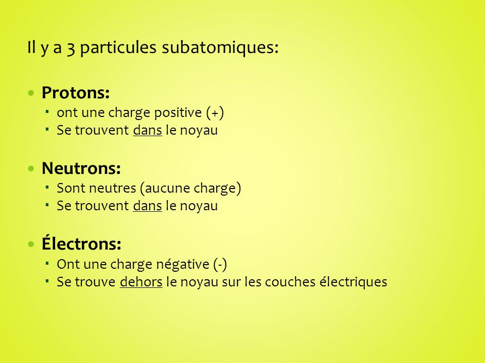 Il y a 3 particules subatomiques: Protons: