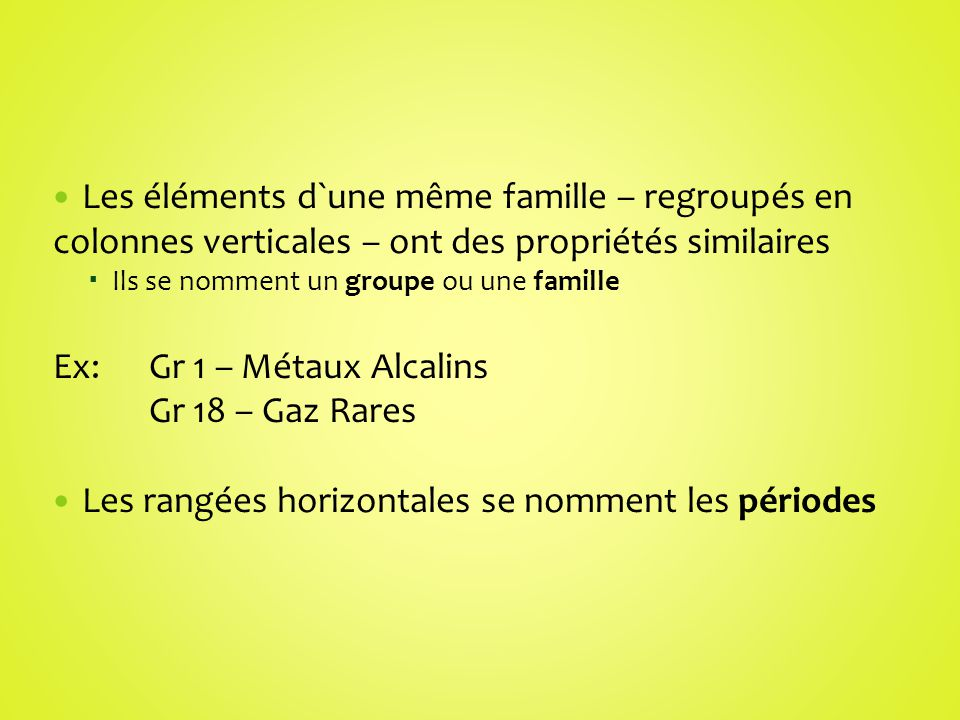 Ex: Gr 1 – Métaux Alcalins Gr 18 – Gaz Rares