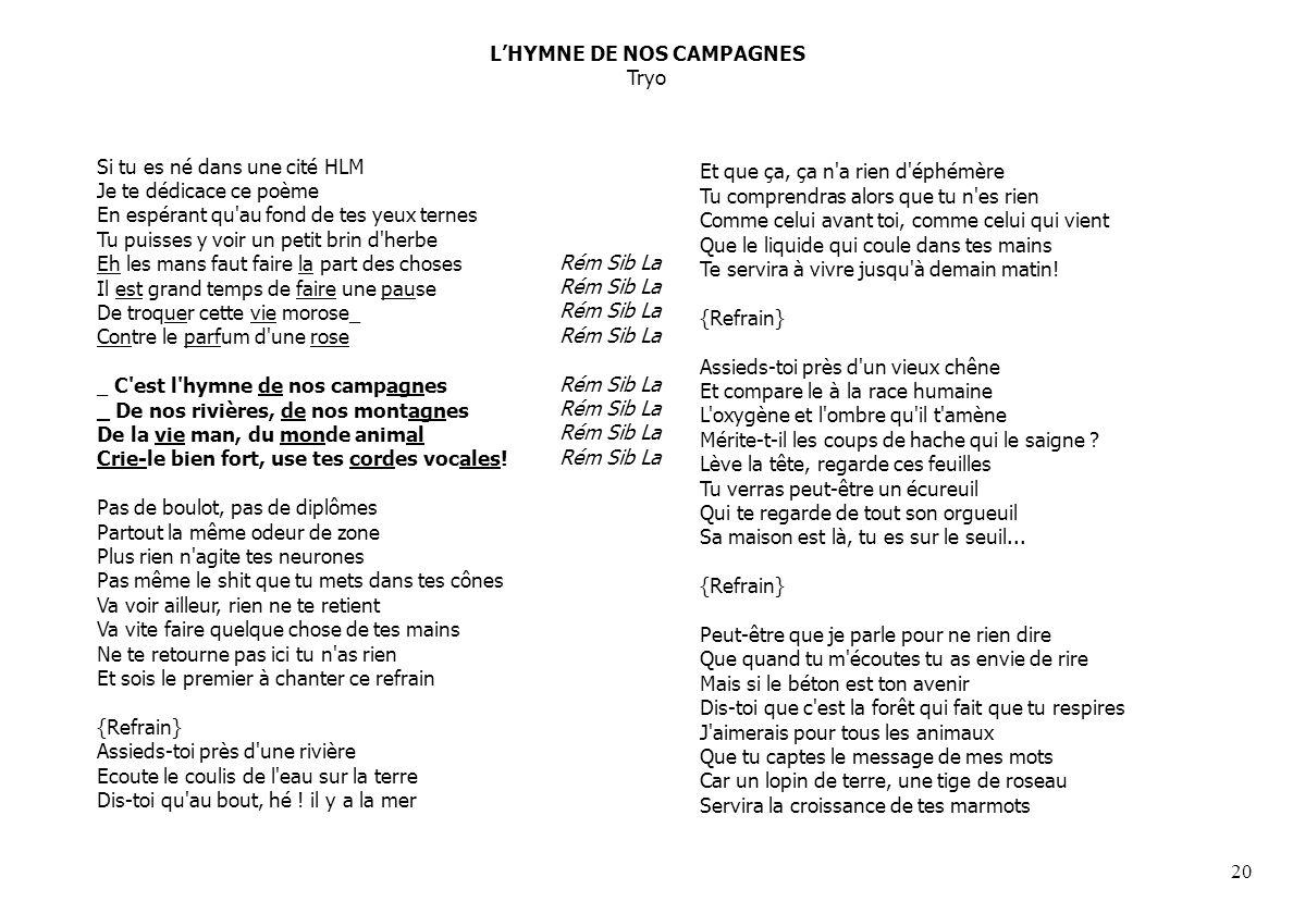 L'HYMNE DE NOS CAMPAGNES Tryo